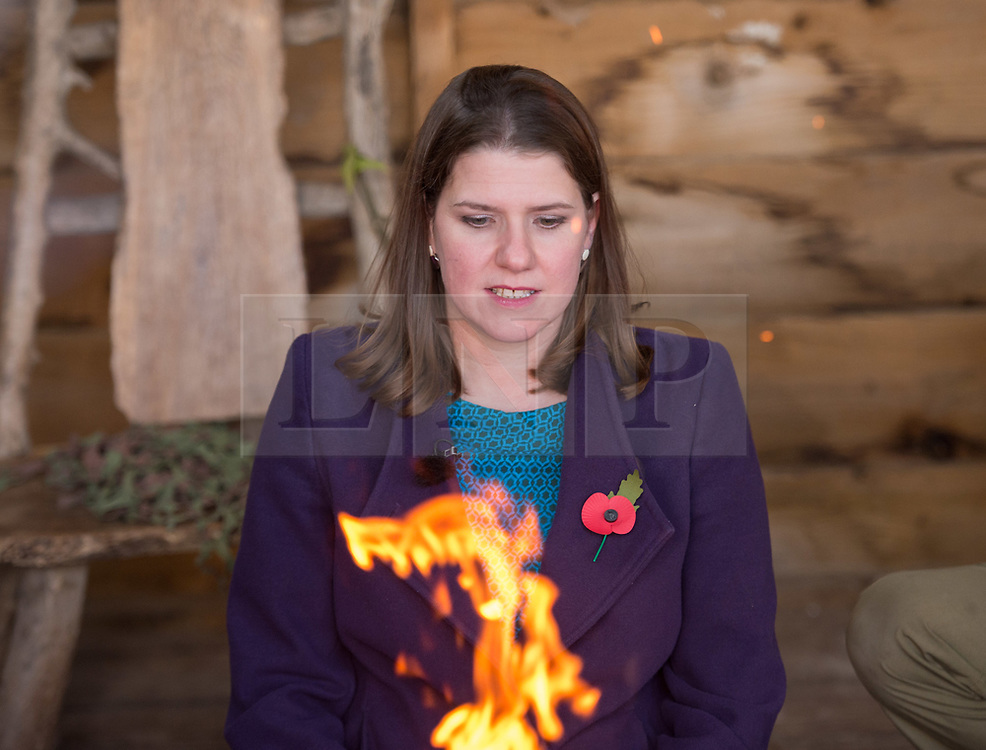 © Licensed to London News Pictures. 07/11/2019. Midsomer Norton, Bath and North East Somerset, UK. General Election 2019; JO SWINSON, Leader of the Liberal Democrats, learns to make fire on a visit to Free Rangers, a 57-place Forest School Nursery that offers childcare from birth to five years. The Lib Dems aim to highlight the threat to UK nurseries, pre-schools and childminders with the risk of closures due to Government cuts and ongoing under-funding. Photo credit: Simon Chapman/LNP.