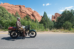 Dean Bordigioni (Dino) riding his 1923 Harley-Davidson JS through the Garden of the Gods outside Colorado Springs during Stage 9 (249 miles) of the Motorcycle Cannonball Cross-Country Endurance Run, which on this day ran from Burlington to Golden, CO., USA. Sunday, September 14, 2014.  Photography ©2014 Michael Lichter.