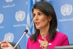 April 3, 2017 - New York, NY, United States - Ambassador Nikki Haley is seen in the UN press briefing room.  On the first work day of the United States' chairmanship of the United Nations Security Council, the U.S. Permanent Representative to the UN Ambassador Nikki Haley, in her capacity as President of the Council, held a press briefing at UN Headquarters to discuss the April program of work and field questions from the UN press corps. (Credit Image: © Albin Lohr-Jones/Pacific Press via ZUMA Wire)