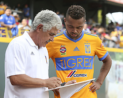 July 8, 2018 - Round Rock, USA - Tigres manager Ricardo Ferretti talks with defender Rafael De Souza (5) during the halftime break in a Liga MX friendly match between Tigres and Pachuca at Dell Diamond in Round Rock, Texas, on July 8, 2018. (Credit Image: © Scott W. Coleman via ZUMA Wire)