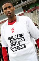 Fotball<br /> Frankrike<br /> Foto: DPPI/Digitalsport<br /> NORWAY ONLY<br /> <br /> FOOTBALL - FRENCH CHAMPIONSHIP 2008/2009 - L1 - AS NANCY LORRAINE v FC SOCHAUX - 26/10/2008 - ABDESLAM OUADDOU (NAN) WITH A SHIRT AGAINST RACISM OF THE NANCY SPONSOR BALISTON