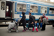 Hungary, Budapest, Keleti Station. A Syrian refugee family about to board a train to the Austria n border.