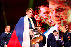September 18, 2017 - Ljubljana, Slovenia, Slovenia - Luka Doncic celebrate after Slovenian basketball team historical win in European Championship in Istanbul on September 18, 2017 in Ljubljana, Slovenia. (Credit Image: © Damjan Zibert/NurPhoto via ZUMA Press)