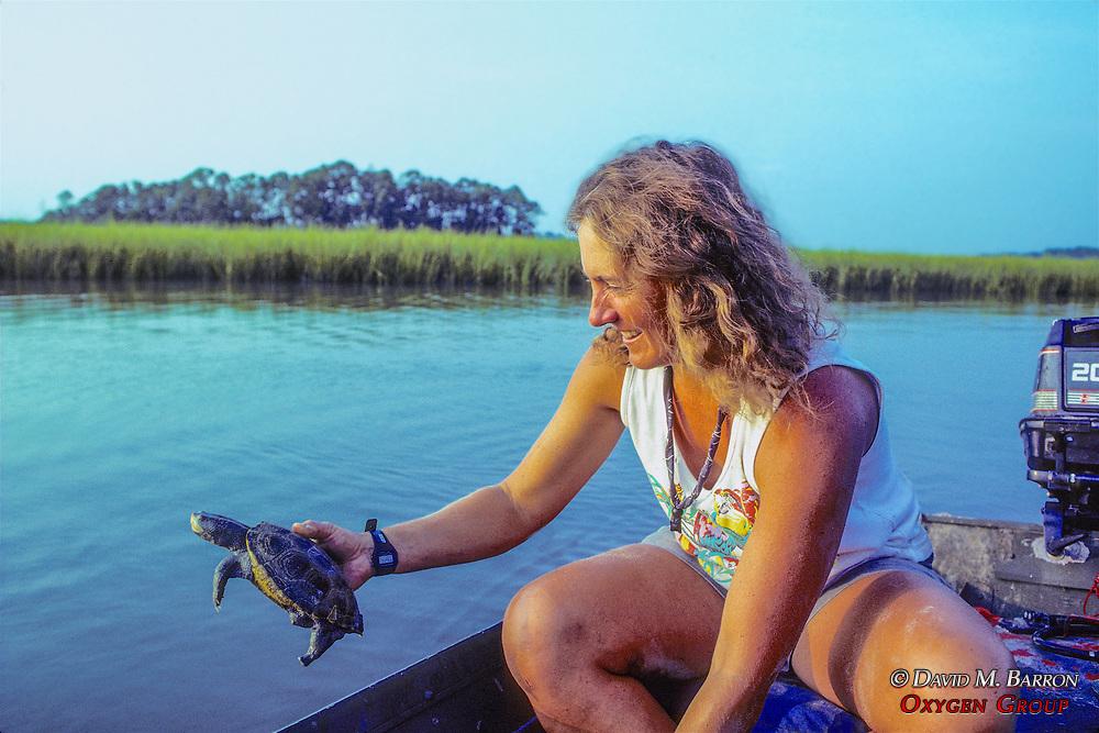 Nancy Releasing Diamondback Turtle