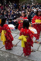 """Chakkirako is a folk dance that blesses the harvest and prosperity of the townspeople for the new year.  The chakkirako festival in Misaki is a traditional event held in Miura City. Girls aged 5 to 12 perform dances to music holding bamboo sticks """"chakkirako"""" and fans. There is no established theory for the origin of Chakkirako, but it has been performed as a prayer for good catches of fish since the Edo period.  In 2010 Chakkirako was added to the list of Intangible Cultural Heritage in UNESCO.."""