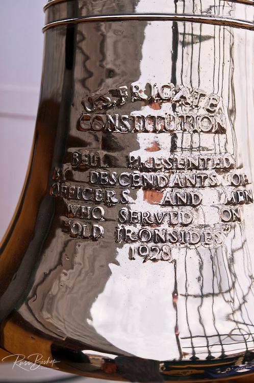 USS Constitution ships bell on the Freedom Trail, Charlestown Navy Yard, Boston, Massachusetts