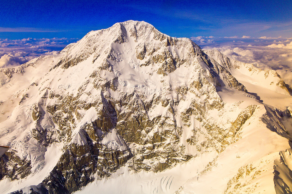 Aerial view of the south face of the summit of Mt. McKinley (South Buttress), the Alaska Range, Denali National Park, Alaska