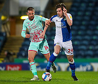 Blackburn Rovers' Joseph Rankin-Costello gets away from Swansea City's Conor Hourihane<br /> <br /> Photographer Alex Dodd/CameraSport<br /> <br /> The EFL Sky Bet Championship - Blackburn Rovers v Swansea City - Tuesday 9th March 2021 - Ewood Park - Blackburn<br /> <br /> World Copyright © 2021 CameraSport. All rights reserved. 43 Linden Ave. Countesthorpe. Leicester. England. LE8 5PG - Tel: +44 (0) 116 277 4147 - admin@camerasport.com - www.camerasport.com