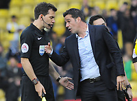 Football - 2017 / 2018 Premier League - Watford vs. Manchester City<br /> <br /> Watford Manager Marco Silva confronts the linesman as he walks off the pitch, at Vicarage Road.<br /> <br /> COLORSPORT/ANDREW COWIE
