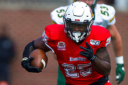 NORMAL, IL - October 05: James Robinson cuts through the line during a college football game between the ISU (Illinois State University) Redbirds and the North Dakota State Bison on October 05 2019 at Hancock Stadium in Normal, IL. (Photo by Alan Look)
