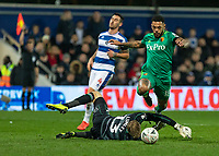 Football - 2018 / 2019 Emirates FA Cup - Fifth Round: Queens Park Rangers vs. Watford<br /> <br /> The linesmans flag is raised as Andre Gray (Watford FC)  rounds Joe Lumley (Queens Park Rangers) believing he is about to score at Loftus Road<br /> <br /> COLORSPORT/DANIEL BEARHAM