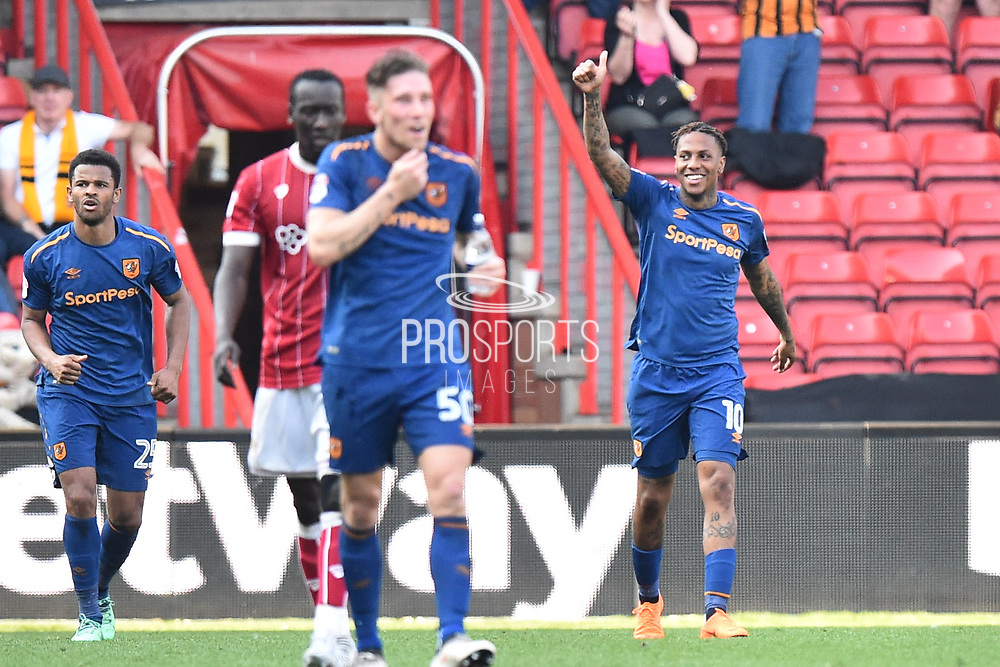 Goal - Abel Hernandez (10) of Hull City celebrates scoring the equalising goal to make the score 4-4 during the EFL Sky Bet Championship match between Bristol City and Hull City at Ashton Gate, Bristol, England on 21 April 2018. Picture by Graham Hunt.