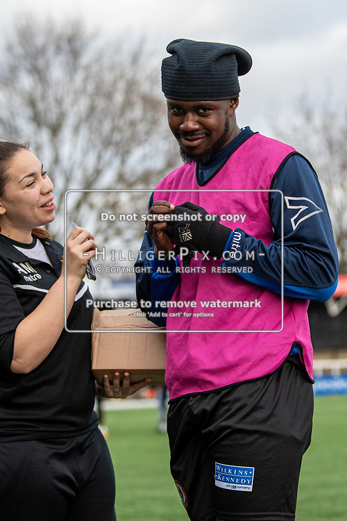 BROMLEY, UK - DECEMBER 07: Ben Mundelle, of Cray Wanderers FC, has an energy gel before the BetVictor Isthmian Premier League match between Cray Wanderers and Potters Bar Town at Hayes Lane on December 7, 2019 in Bromley, UK. <br /> (Photo: Jon Hilliger)
