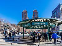 NEW YORK CITY- MARCH 26, 2018 : subway entrance of the Union Square station  Manhattan Landmarks
