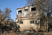 On May 23 2019, a forest fire devastated the village of Mevo Modiim, Israel. Exterior of a burnt home