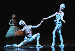 © London News PIctures. Duo Trapeze; Zebastian Hunter; Ella Fenwick, Cirque Du Soleil Alegria opening night, O² Arena, London UK, 18 July 2013. Photo credit: Richard Goldschmidt/LNP