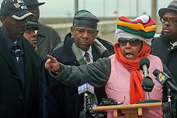 02 March 2010. New Orleans, Louisiana, USA. <br /> Civil Rights leaders gather at the notorious Danziger Bridge in New Orleans East, scene of the Sunday Sept 4th, 2005 murder of 40 yr old Ronald Madison and 19 yr old James Brissette by New Orleans police. <br /> 'Mama D,' Dyan French Cole addresses the media.<br /> The police are under federal investigation for an alleged cover up of the botched killings in the chaotic aftermath of hurricane Katrina. <br /> Photo; Charlie Varley.