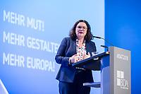 23 NOV 2018, BERLIN/GERMANY:<br /> Andrea Nahles, MdB, SPD Parteivorsitzende, haelt eine Rede, Deutscher Arbeitgebertag 2018, Vereinigung Deutscher Arbeitgeber, BDA, Estrell Convention Center<br /> IMAGE: 20181123-01-482