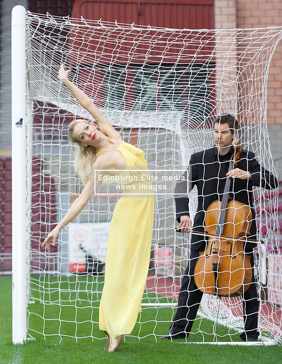 Ballet dancer Eve Mutso and cellist Donald Gillan at launch of Edinburgh International Festival programme, Tynecastle stadium. Pic Terry Murden @edinburghelitemedia