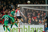 Woking forward Harvey Bradbury (12) comes close to scoring in the second half during the The FA Cup 3rd round match between Woking and Watford at the Kingfield Stadium, Woking, United Kingdom on 6 January 2019.