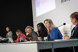 4 December 2019, Madrid, Spain: Lindsey Fielder Cook, representative for climate change with the Quaker UN office speaks at a press conference held at COP25, reporting on the findings of an interfaith dialogue on 1 December.