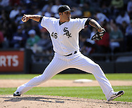 CHICAGO - JUNE 12:  Sergio Santos #46 of the Chicago White Sox pitches against the Oakland Athletics on June 12, 2011 at U.S. Cellular Field in Chicago, Illinois.  The White Sox defeated the Athletics 5-4.  (Photo by Ron Vesely)   Subject:  Sergio Santos