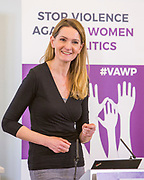Sophie Walker, leader of the Women's Equality Party. Session 7: THE ROLE AND RESPONSIBILITIES OF POLITICAL PARTIES IN TACKLING VIOLENCE AGAINST POLITICALLY ACTIVE WOMEN 'Violence Against Women in Politics' Conference, organised by all the UK political parties in partnership with the Westminster Foundation for Democracy, 19th and 20th of March 2018, central London, UK.  (Please credit any image use with: © Andy Aitchison / WFD