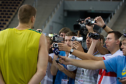 Robertas Javtokas  of Lithuania interviewed after the practice session, on September 11, 2009 in Arena Lodz, Hala Sportowa, Lodz, Poland.  (Photo by Vid Ponikvar / Sportida)