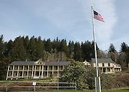 Barracks and flag