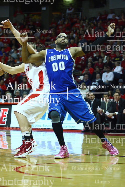 13 January 2012:  Gregory Echenique gets position for a rebound on Jordan Threloff during an NCAA Missouri Valley Conference mens basketball game where the Creighton Bluejays topped the Illinois State Redbirds 87-78 in Redbird Arena, Normal IL