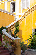 A staircase at the Institute Francais, Pondicherry, India. Pondicherry now Puducherry is a Union Territory of India and was a French territory until 1954 legally on 16 August 1962. The French Quarter of the town retains a strong French influence in terms of architecture and culture.
