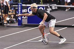 October 4, 2018 - St. Louis, Missouri, U.S - JOHN MCENROE makes sure everybody knows the ball was out during the Invest Series True Champions Classic on Thursday, October 4, 2018, held at The Chaifetz Arena in St. Louis, MO (Photo credit Richard Ulreich / ZUMA Press) (Credit Image: © Richard Ulreich/ZUMA Wire)