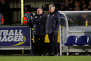 AFC Wimbledon manager Wally Downes with arms folded during the EFL Sky Bet League 1 match between AFC Wimbledon and Barnsley at the Cherry Red Records Stadium, Kingston, England on 19 January 2019.