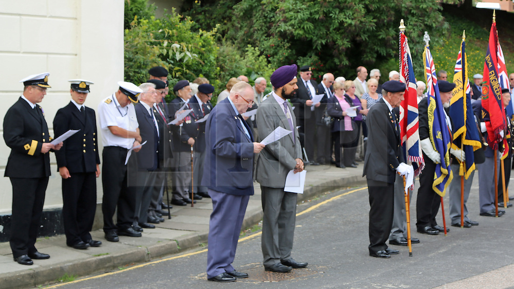 © Licensed to London News Pictures. 03/09/2013. A service is held at Bawley Bay in Gravesend to remember seafearers from the merchant navy who died in the second world war. This is the 13th Merchant Navy Day and services like this are being held up and down the country. credit : Rob Powell/LNP