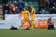 Adam Chapman(7) of Newport County celebrates after scoring his sides 2nd goal after taking a penalty during the Skybet football league two match, Newport county v Chesterfield at Rodney Parade in Newport, South Wales on Sunday 1st Dec 2013. pic by Jeff Thomas, Andrew Orchard sports photography,