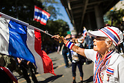"""14 JANUARY 2014 - BANGKOK, THAILAND: An elderly woman waves a Thai flag in front of Royal Thai Police headquarters. Hundreds of protestors picketed police headquarters because they accuse the police of siding with the government during the protests. Tens of thousands of Thai anti-government protestors continued to block the streets of Bangkok Tuesday to shut down the Thai capitol. The protest, """"Shutdown Bangkok,"""" is expected to last at least a week. Shutdown Bangkok is organized by People's Democratic Reform Committee (PRDC). It's a continuation of protests that started in early November. There have been shootings almost every night at different protests sites around Bangkok, but so far Shutdown Bangkok has been peaceful. The malls in Bangkok are still open but many other businesses are closed and mass transit is swamped with both protestors and people who had to use mass transit because the roads were blocked.     PHOTO BY JACK KURTZ"""