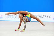 Piriyeva Zhala during qualifying clubs at the Pesaro World Cup April 2, 2016. Zhala is an Azerbaijani individual rhythmic gymnast, she was born in May 10, 2000 Baku, Azerbaijan.
