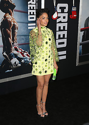 """Celebrities at the """"Creed 2"""" premiere in New York. 14 Nov 2018 Pictured: Tessa Thompson. Photo credit: MEGA TheMegaAgency.com +1 888 505 6342"""