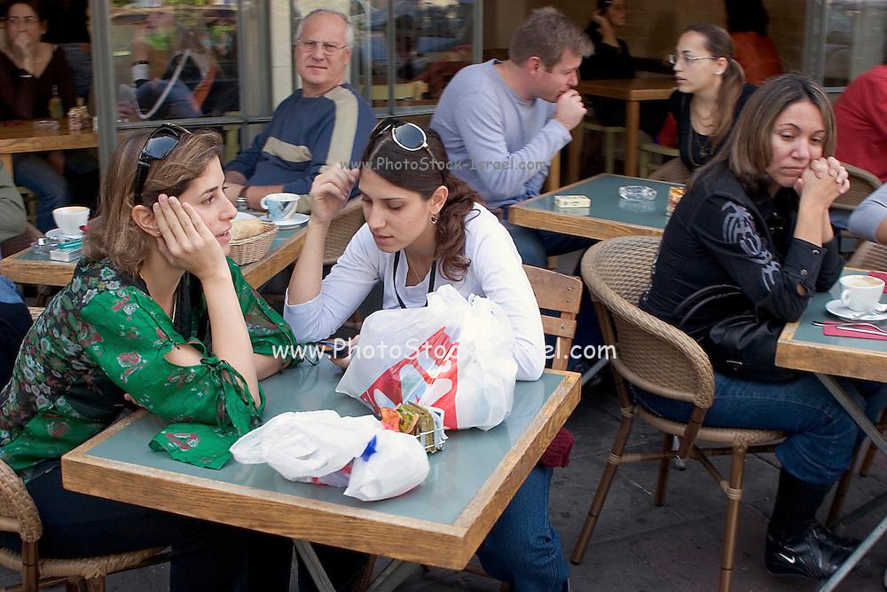 2 women coffee break in Tel Aviv, Israel