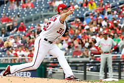 May 6, 2018 - Washington, DC, U.S. - WASHINGTON, DC - MAY 06:  Washington Nationals starting pitcher Max Scherzer (31) pitches in the second inning during the game between the Philadelphia Phillies and the Washington Nationals on May 6, 2018, at Nationals Park, in Washington D.C.  The Washington Nationals defeated the Philadelphia Phillies, 5-4.  (Photo by Mark Goldman/Icon Sportswire) (Credit Image: © Mark Goldman/Icon SMI via ZUMA Press)