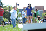 Resurrection High School teacher and Campus Minister Sr. Mary Ann Meyer plays a game of bag toss against freshman Lauren Brennan, 14, during a back to school picnic celebrating the 90th anniversary of the all-girls College Prep school on Chicago's Northwest side  on August 28, 2011 l Brian J. Morowczynski~ViaPhotos..For use in a single edition of Catholic New World Publications, Archdiocese of Chicago. Further use and/or distribution may be negotiated separately. ..Contact ViaPhotos at 708-602-0449 or email brian@viaphotos.com.   .