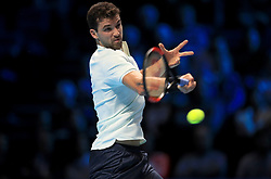 Grigor Dimitrov in action during day four of the NITTO ATP World Tour Finals at the O2 Arena, London.