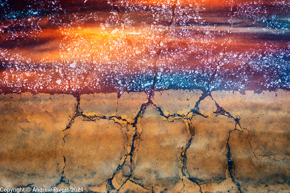 Acid rain-affected surfaces photographed and combined in-camera with colors and subjects found during the moment of creation.