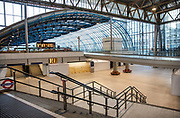 Waterloo Station, Internation departures entrance, deserted at 7.30pm Saturday night during the Coronavirus pandemic on 4th April 2020 in London, United Kingdom. The government clampdown includes the closure of most shops, bars and theatres throughout the country.