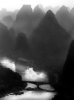 View up the Li river and bridge  in Yangshuo.