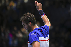 November 14, 2017 - London, England, United Kingdom - Marin Cilic of Croatia salutes the audience after he lost his Singles match against Jack Sock of the USA on day three of the Nitto ATP World Tour Finals at O2 Arena, London on November 14, 2017. (Credit Image: © Alberto Pezzali/NurPhoto via ZUMA Press)