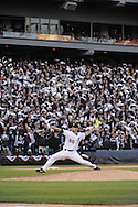 CHICAGO - October 5:  John Danks #50 of the Chicago White Sox pitches in front of 40,142 towel waving White Sox fans during the game against the Tampa Bay Rays at U.S. Cellular Field in Chicago, Illinois on October 5, 2008.  The White Sox defeated the Rays 5-3.  (Photo by Ron Vesely)