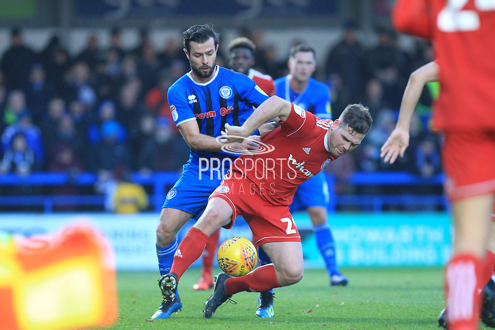 Joe Rafferty makes a challenge during the EFL Sky Bet League 1 match between Rochdale and Accrington Stanley at Spotland, Rochdale, England on 24 November 2018.