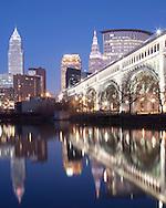 Cleveland Ohio skyline at dusk