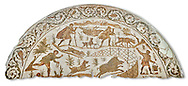 4th century Roman mosaic panel of a boar hunt from Cathage, Tunisia. The Bardo Museum, Tunis, Tunisia. White background .<br /> <br /> If you prefer to buy from our ALAMY PHOTO LIBRARY  Collection visit : https://www.alamy.com/portfolio/paul-williams-funkystock/roman-mosaic.html - Type -   Bardo    - into the LOWER SEARCH WITHIN GALLERY box. Refine search by adding background colour, place, museum etc<br /> <br /> Visit our ROMAN MOSAIC PHOTO COLLECTIONS for more photos to download  as wall art prints https://funkystock.photoshelter.com/gallery-collection/Roman-Mosaics-Art-Pictures-Images/C0000LcfNel7FpLI